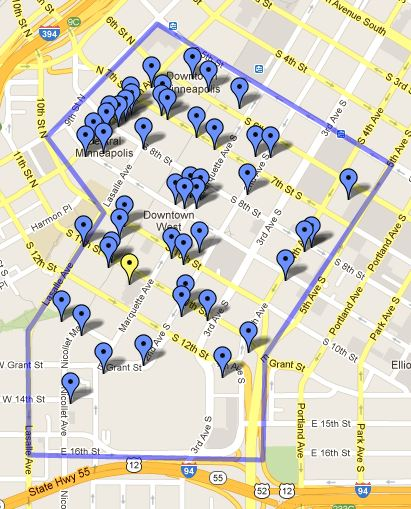 Orchestra Hall (yellow pin) and places it will be in competition with for event-hosting jobs (blue pins). All the dots are locations you can rent out for events. There may be places outside the blue lines, too, BUT I DIDN'T HAVE TIME TO FILL IN THE MAP.