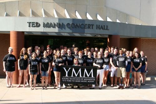 YMM outside Ted Mann Concert Hall, University of Minnesota, Minneapolis, Minnesota, summer 2014.