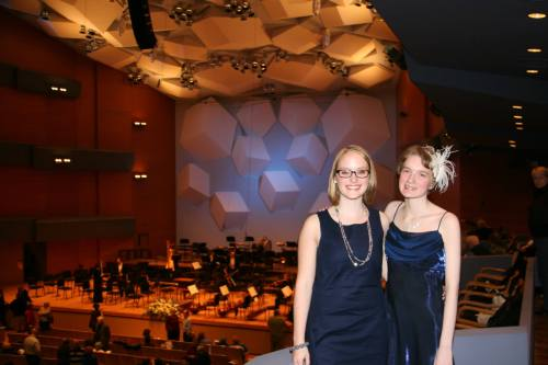 Emily and Emily at the historic Minnesota Orchestra Grammy celebration concert, March 2014, a few weeks before Osmo Vanska was re-instated as music director.