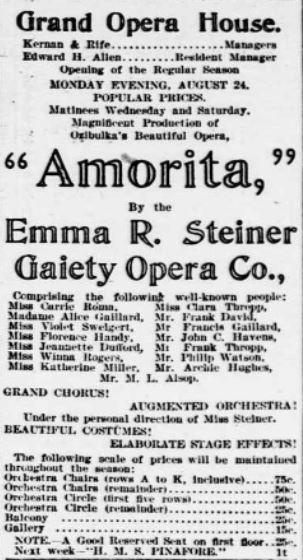 emma steiner gaiety opera company