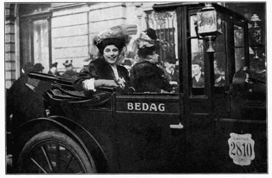 Geraldine Farrar in a car